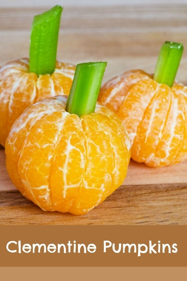 6 Healthy Halloween Treats including Clementine and Celery Pumpkins