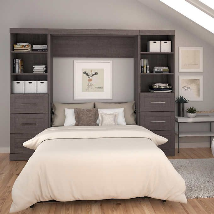 Baton Rouge Full Wall Bed Grey With Drawers And Storage Modern