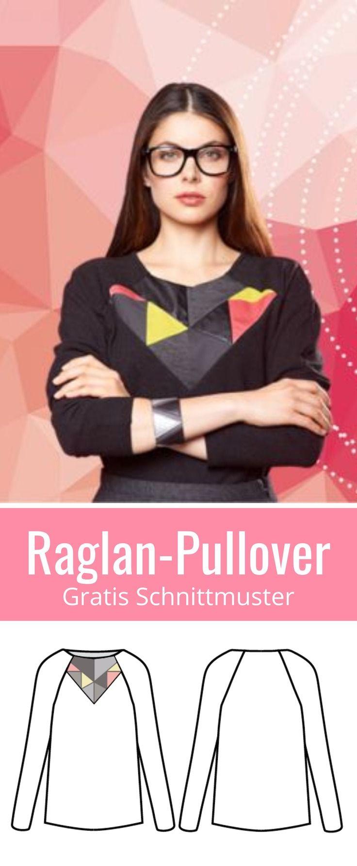 Raglan-Pullover für Damen zum selber nähen mit gratis Schnittmuster. Freebook und Anleitung für Größe 36 - 48 ✂️