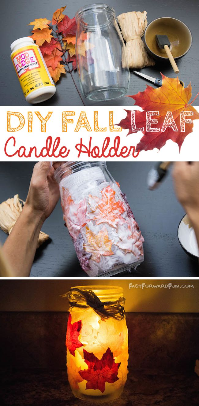 DIY Fall Leaf Candle Holder (video tutorial and lots of pics!)