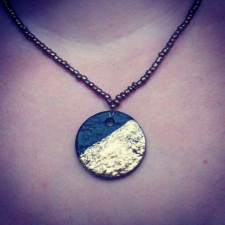 Short necklace.. Clay pendant.
