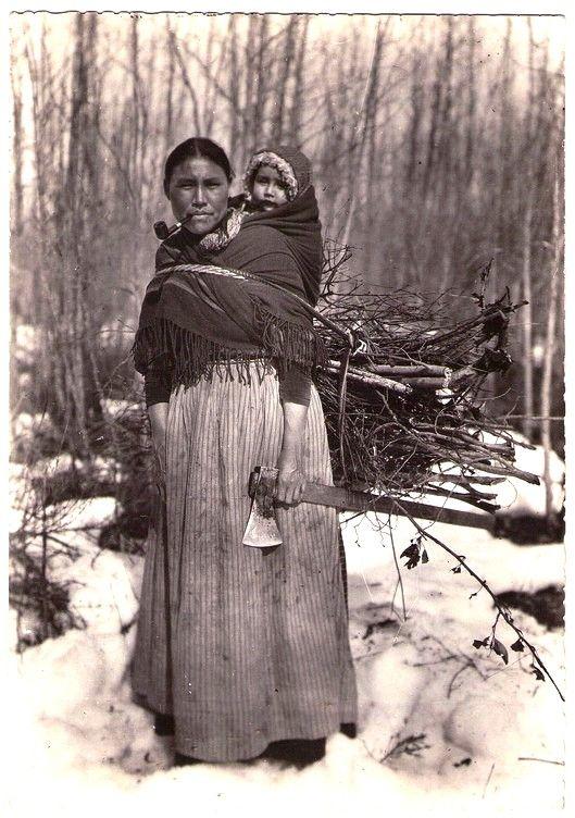"CREE Mother & baby, Innu tribe (Montagnais), c.1940. Real Photo Postcard edited by Oblats Missionnaries ""Marie immaculée et des Soeurs de la Sainte-famille"", France, c.1950."