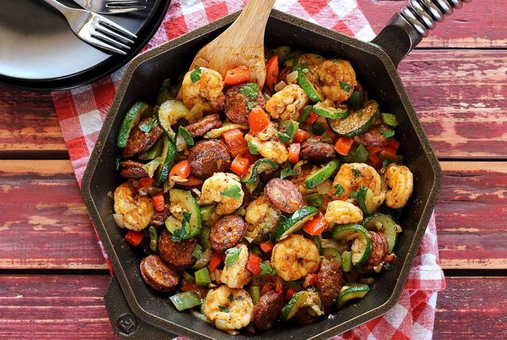 Quick and easy hot paleo meal with shrimp, pre-cooked sausage, and fresh chopped veggies. Try this easy recipe when you want to whip up something delicious and nutritious.