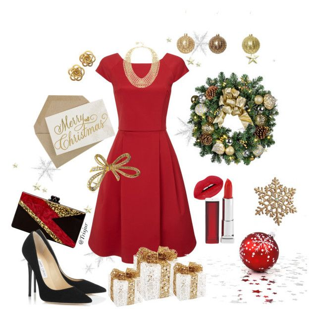 """Christmas 2015"" by trisjur on Polyvore featuring beauty, Phase Eight, Melrose International, BCBGMAXAZRIA, Edie Parker, Jimmy Choo, Maybelline and Bling Jewelry"