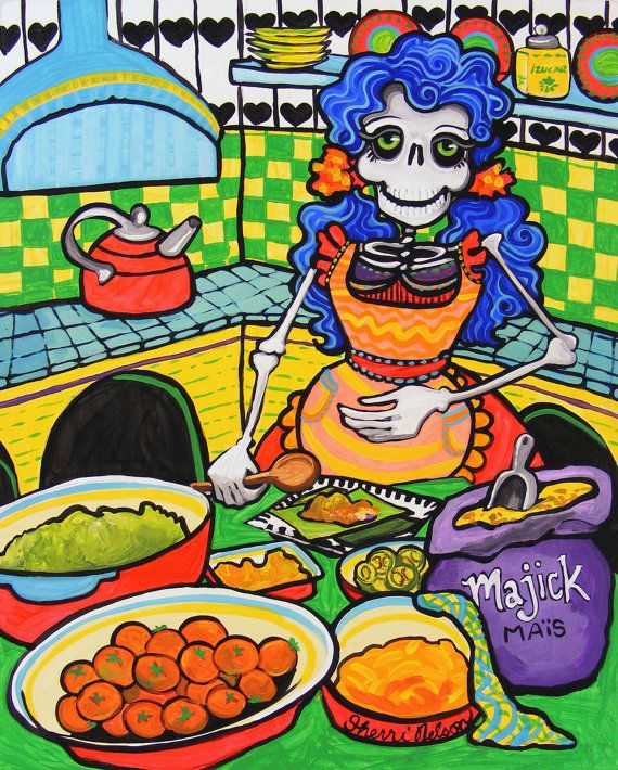 Mexican Food Art Tamales Day of the Dead Kitchen Decor ...