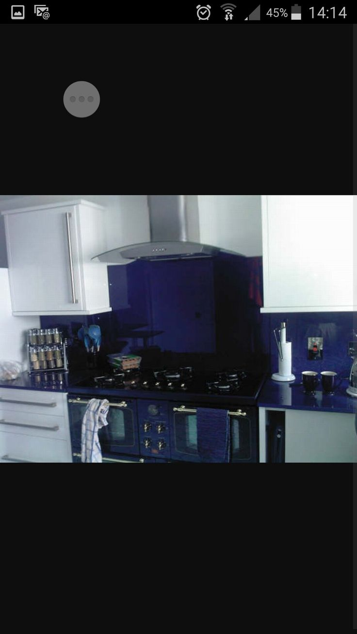 Timber veneer kitchen tambour doors tambortech - Blue White Kitchen With A Glass Splashback Is The Perfect Solution For A Stylish Long Lasting And Hygienic Kitchen