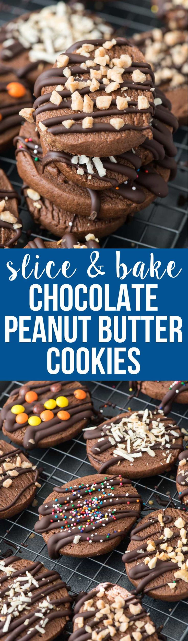 Slice and Bake Chocolate Peanut Butter Cookies - this easy slice and bake cookie recipe is full of chocolate and peanut butter! It's an easy cookie recipe for holiday plates! via @crazyforcrust