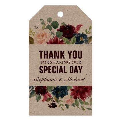 Burgundy Red Navy Floral Rustic Boho Gift tag – rustic wedding marriage love cyo