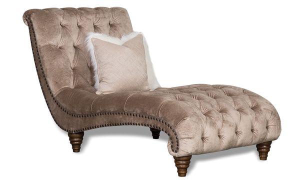 Aria Verona Hand Tufted Champagne Velvet Chaise Lounge Velvet