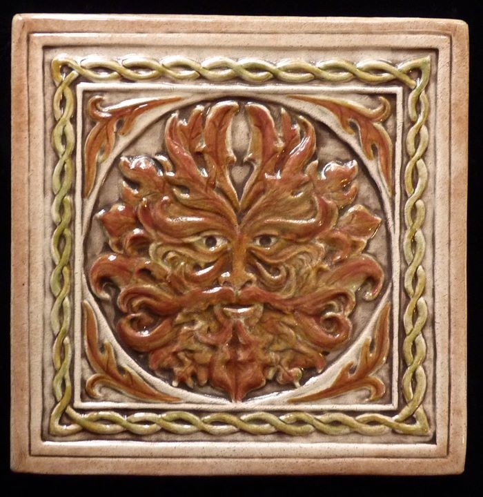 Autumn Greenman tile by EarthSong