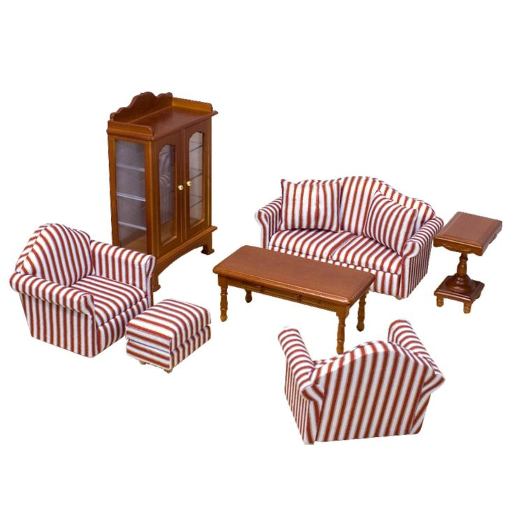 Melissa & Doug Classic Victorian Wooden and Upholstered Dollhouse Living Room Furniture (9pc)