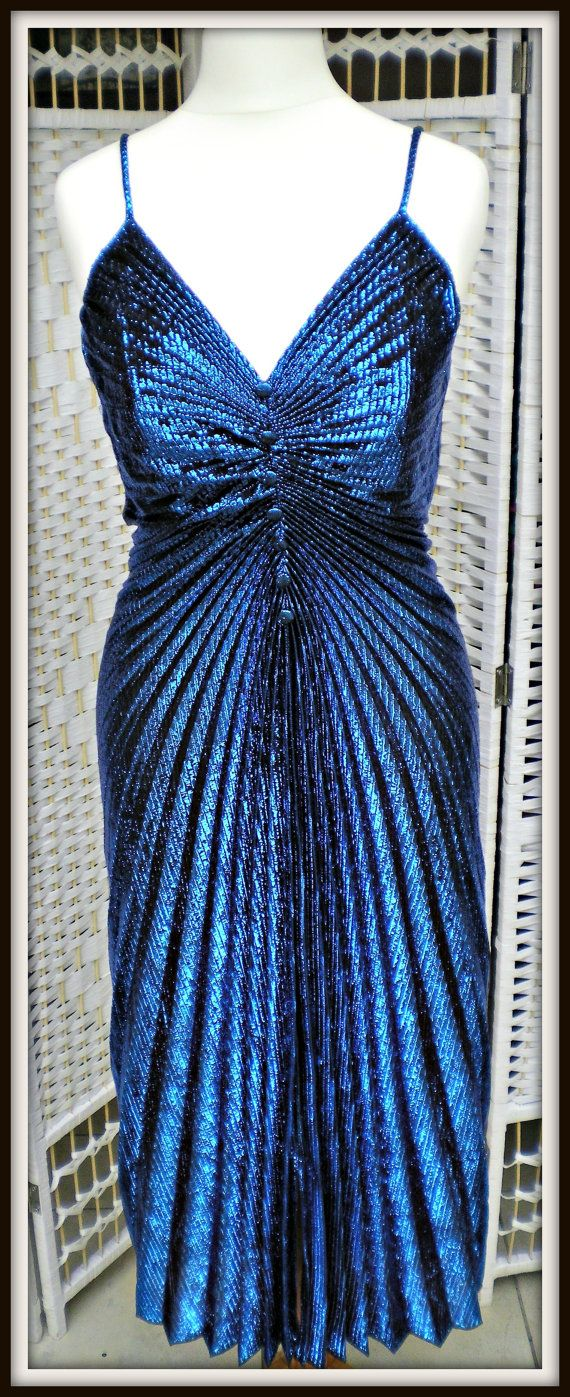 Sapphire Blue 70's Disco Dress  New Leaf by BChicBGenreVintage, €35.00