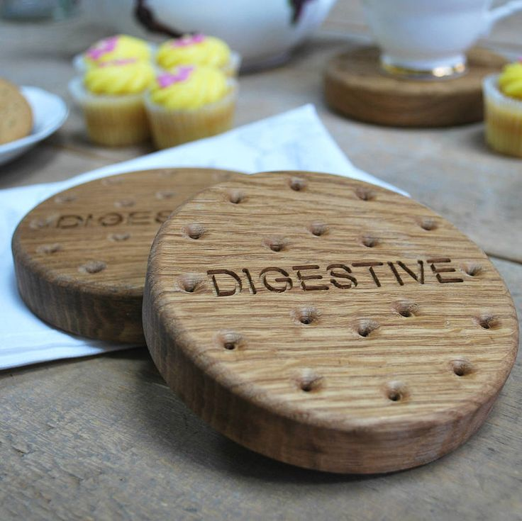 Set of Four Oak Digestives Biscuit Coasters