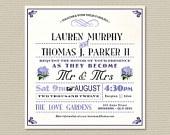Printable Wedding Invitation & RSVP postcard - Vintage Hydrangea