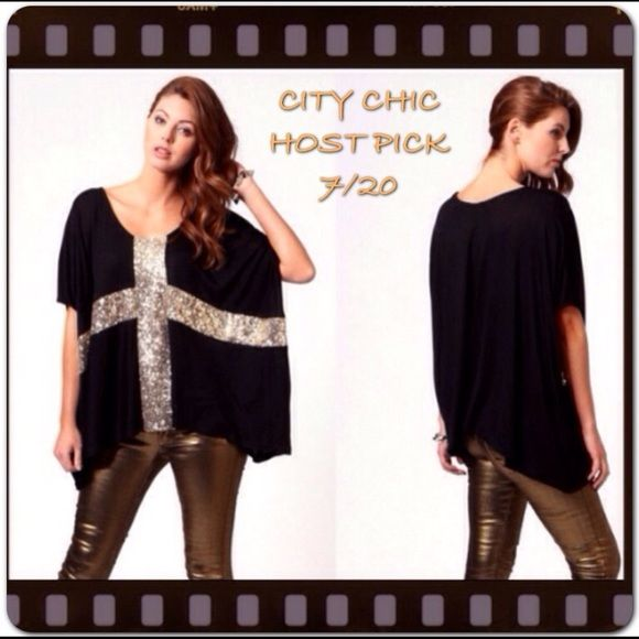 "Black Loose Fit Sequin Cross Top Batwing style short sleeve shirt. Black with gold sequins. Size XXL, measurements - BUST- 59.84"" SHOULDER- 16.54"" SLEEVE- 13.39"" LENGTH- 24.8"". Boutique  Tops"