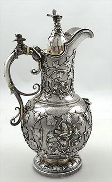 Tiffany antique sterling coffee pot with applied ivy and birds