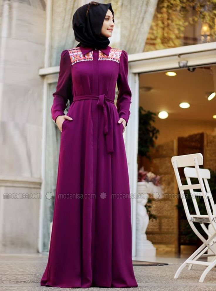 Sequined Dress / Abaya - Purple - Gamze Polat