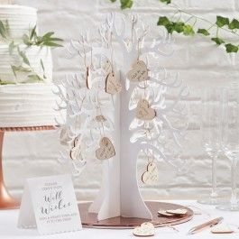 Gästebuch Wunschbaum mit Holzherzen