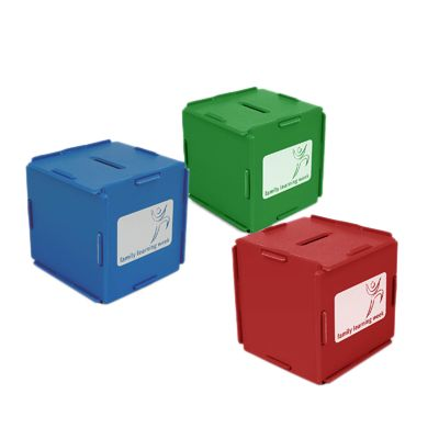 Cube Money Box made from Recycled CD cases. Dimensions: 80 x 80 x 80mm. Print Area: 60 x 60mm. Additional Info: Self assembly cube shaped money box made from recycled CD case plastic. Available in a choice of attractive colours. Minimum Qty: 250 Pieces.