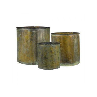 CYSExcel 3 Piece Corrugated Zinc Metal Cylinder Vase Set