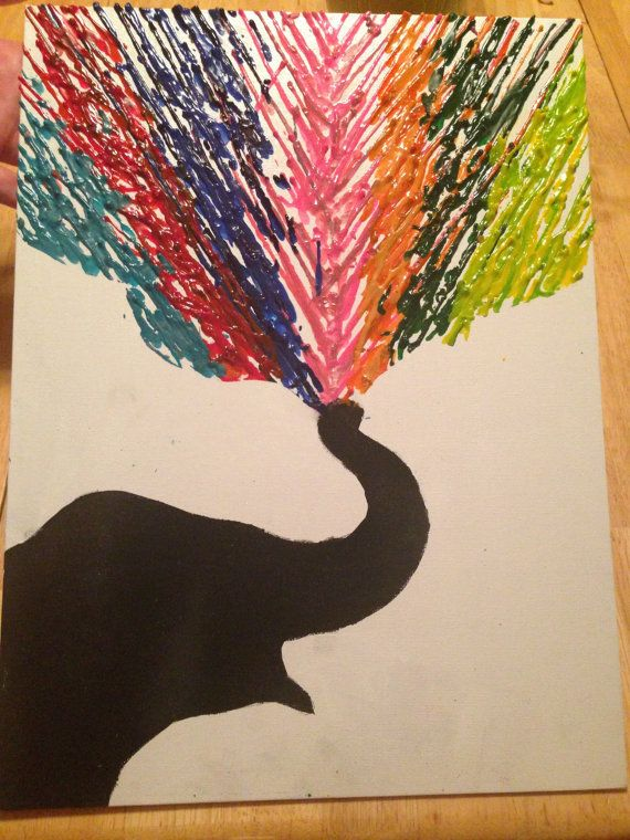 Crayon Art  Rainbow Elephant by CrazyCraftiness on Etsy, $25.00