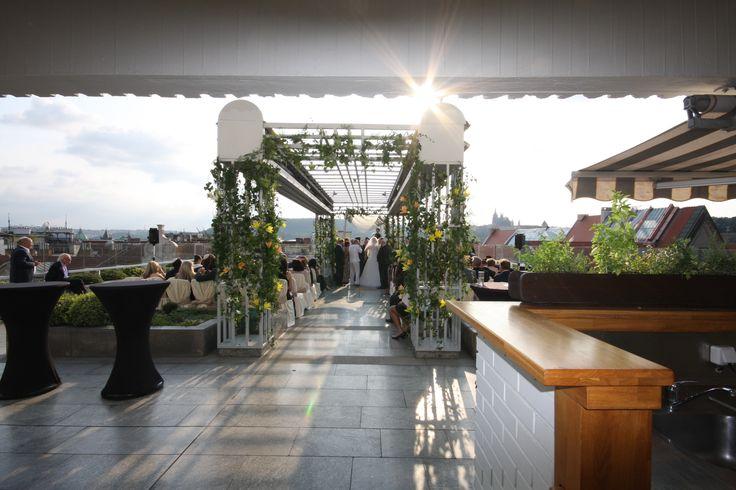 Wedding ceremony on the terrace.