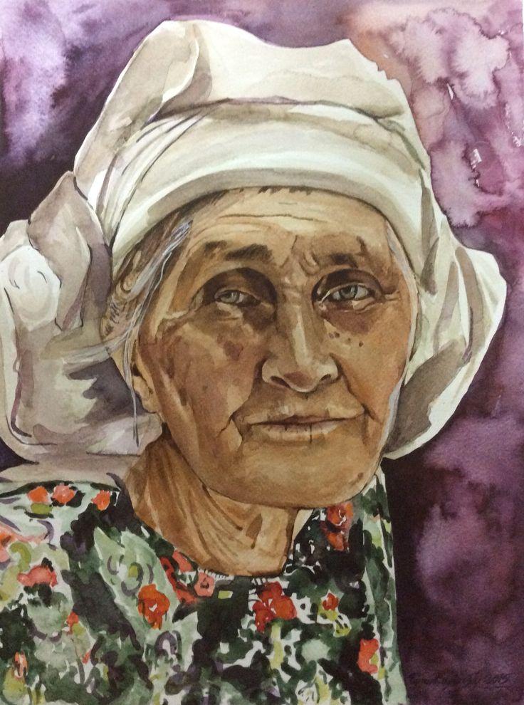 Muğla'lı kadın. Suluboya Resim. Turan Enginoğlu