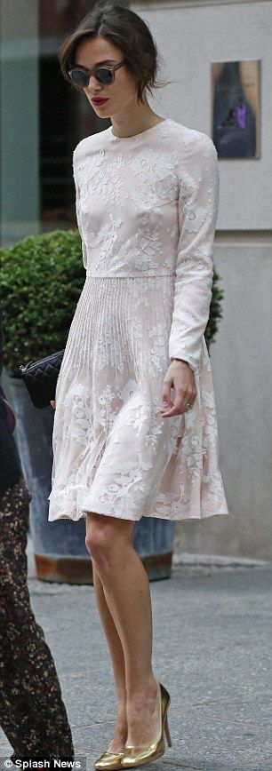 Keira Knightley steps out in a bridal-inspired dress on her way to The Today Show | Daily Mail Online