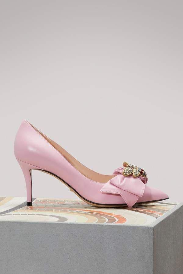 2bc3a259c Gucci Leather mid-high heeled pumps with bow - Sugar Pink #Shoeshighheels