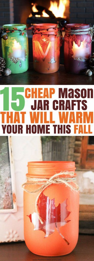These are The BEST Mason Jar Crafts for Fall and all in one place. I love all of these great decorating ideas on a budget. If you love DIY for your home, you have to check out these Mason Jar Crafts. I love the painted jars as well as all of the centrepiece ideas. They also have some gorgeous luminaries you can make. LOVE! #fall #fallmasonjars #masonjars #masonjarcrafts #craft #crafts #masonjarcrafts #fallcrafts #falldecor #homedecor