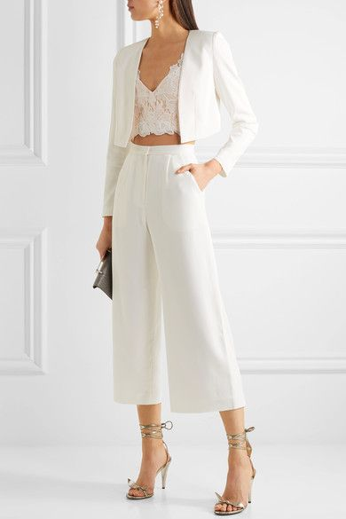 Rime Arodaky - Lalie Lace And Crepe Bustier Top - White