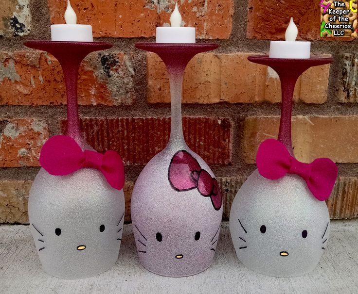 Hello Kitty Wine Glass Candle Holders