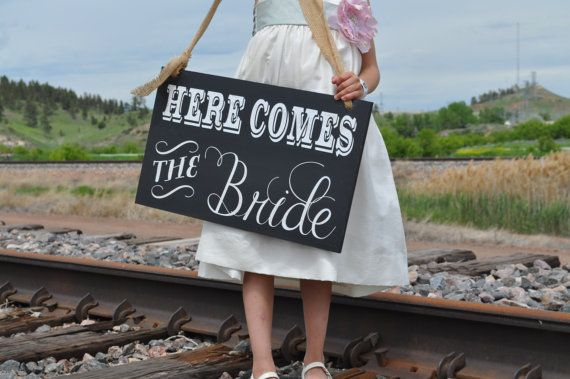 Chalkboard Wedding Sign Here Comes the Bride.  by noelinteriors, $34.00