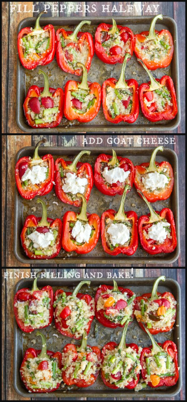 peppers stuffed with lemon quinoa, asparagus, cherry tomatoes & goat cheese