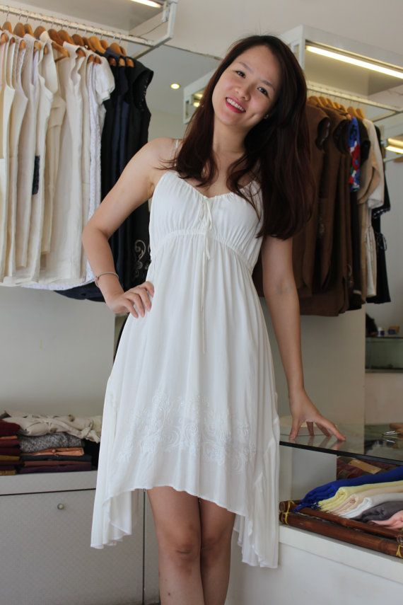 Embroidery white dress by lotussilk on Etsy, $86.00