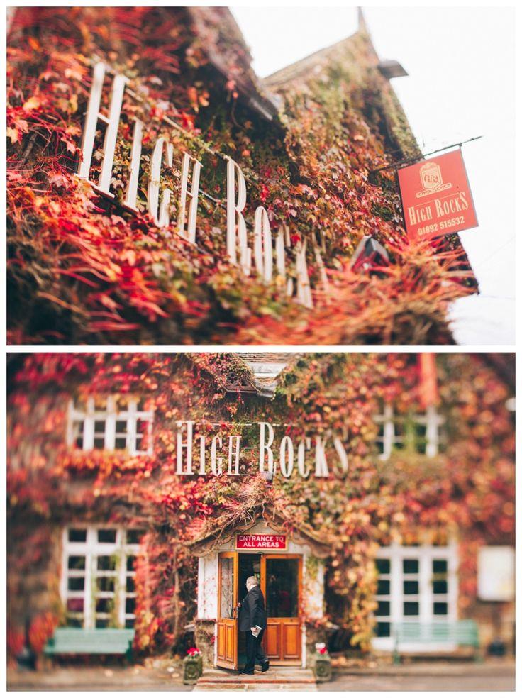 High Rocks venue entrance covered in red autumn leaves www.ellen-richardson-weddings.com