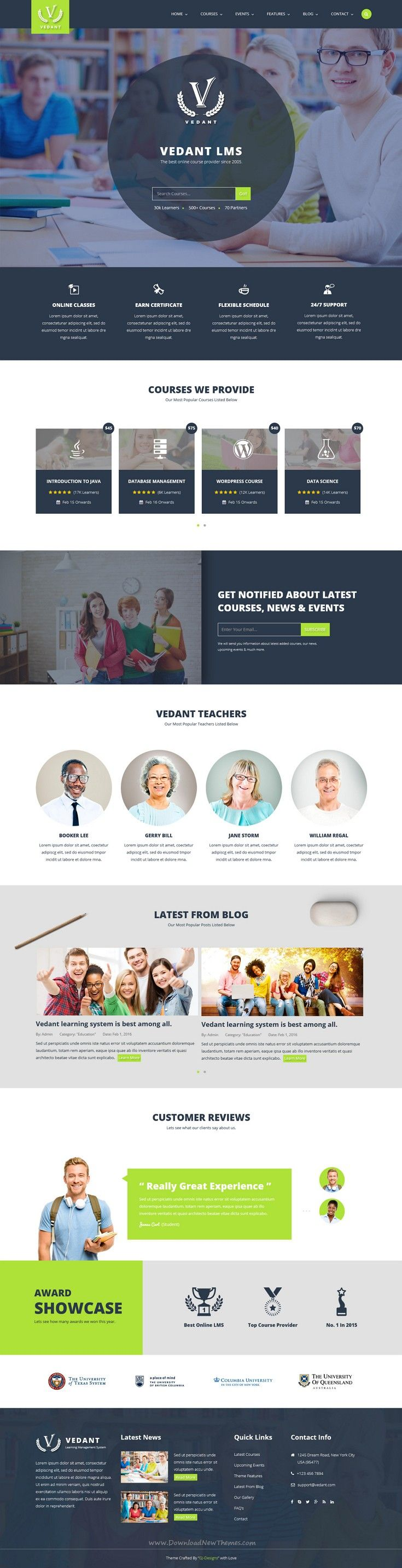 Vedant is perfect educational bootstrap template for school, #university, online #courses or video blogs complete learning management system #website. Download Now!