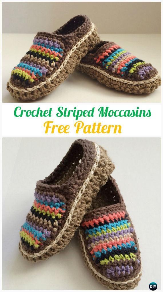 CrochetStripedMoccasins Free Pattern - Crochet Women Slippers Free Patterns