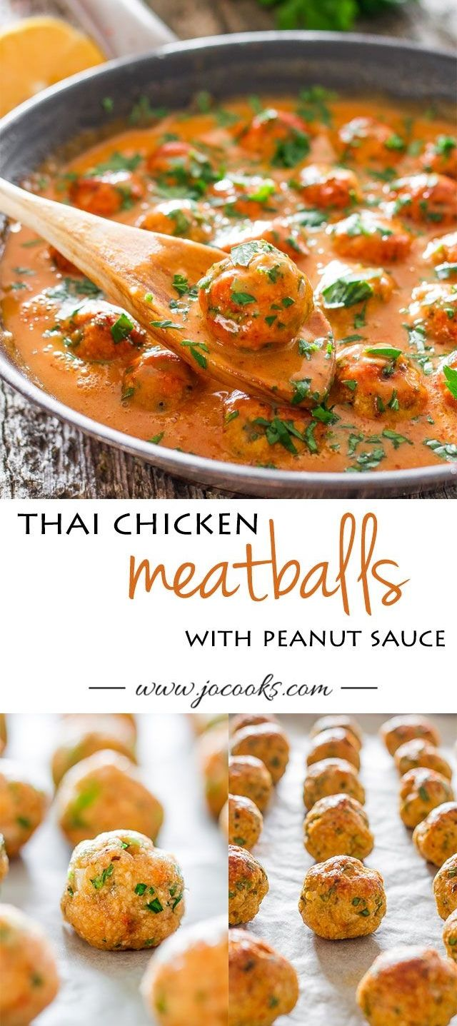 healthy baked chicken meatballs with Thai flavors and smothered in a sweet and slightly spicy peanut sauce.