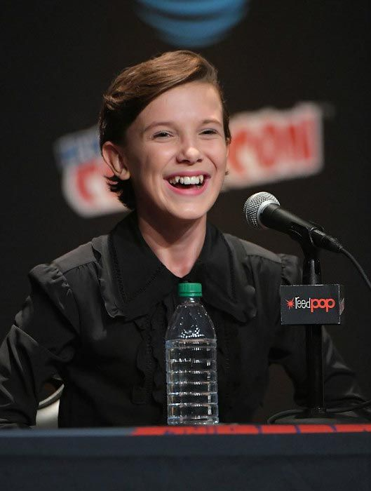 Millie Bobby Brown interacts with fans and press at 2016 New York Comic Con...
