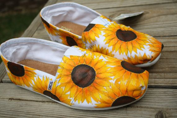 Acrylic sites Shoes Paintings Sunflower Painted Hand shopping Toms Full uk Sunflowers  cheapest   TOMS Painted and  online