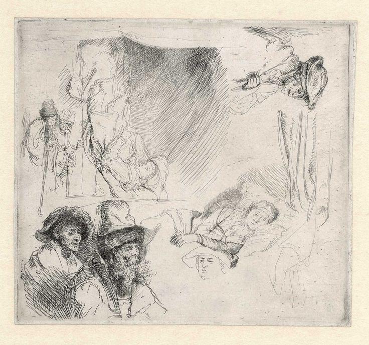 B369, Rembrandt, Schetsblad met een vrouw in bed, een bedelaarspaar en diverse oude mannen, ca. 1641-1642. Ets, enige staat, 151 x 136 mm, Museum het Rembrandthuis.