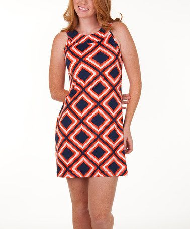Take a look at this Navy & Orange Gene Shift Dress by Tracy Negoshian on #zulily today! (Auburn game day!)