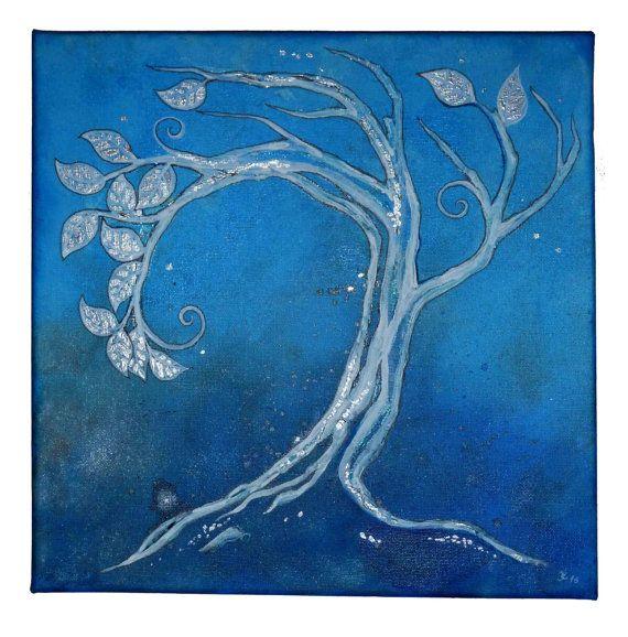 Original painting  Blue Morning Tree original art by JankaLart