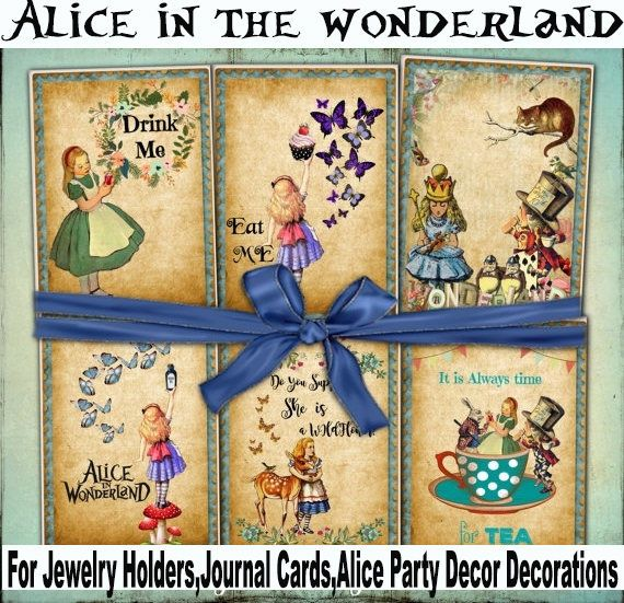 8xAlice in the wonderland Card,Jewelry Holders,ephemera scrapbook,Favour Tags