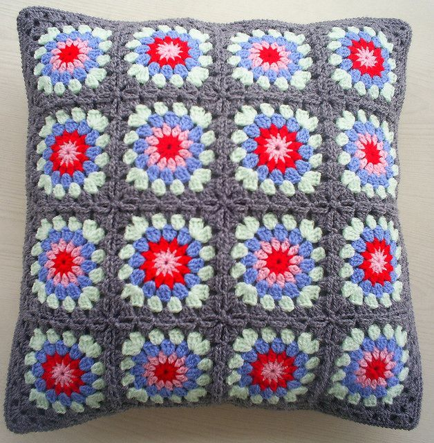 Great color inspiration!-cath kidston inspired granny square cushion cover | Flickr - Photo Sharing!