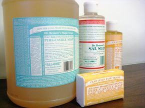 DR. BRONNER'S HOMEMADE LAUNDRY SOAP 1 C Dr. Bronner's pure castile liquid soap 1 C baking soda 2 C water 1/3 C salt. Warm the water & mix w/ salt & baking soda til dissolved. Pour into a one-gallon container. Add the Dr. Bronner's & fill the remainder jar with water. Use 1/4 cup of laundry soap per load. This laundry soap doesn't create suds, but it doesn't need to in order to get your laundry clean.