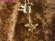 Bauchnabel Piercing Drache 24 Karat Vergoldet Gold Rot Dragon Mittelalter Gothik
