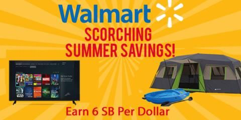 Walmart is running huge deals all week long on everything from clothing and jewelry to home electronics, grills, and toys, and Swagbucks is offering 6% cash back (in the form of SB Points) for every dollar you spend through Sunday. Whatever you need this summer, now's the time to buy it and get rewarded for doing it.
