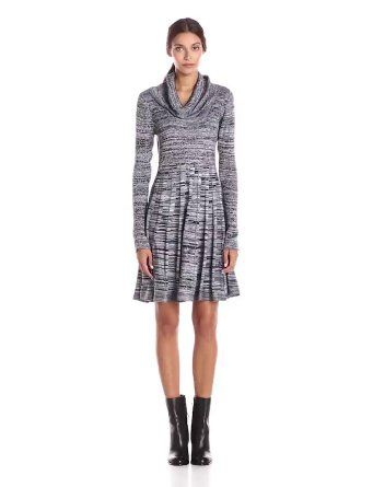 Calvin Klein Women's Long-Sleeve Cowl-Neck Printed Fit-and-Flare Sweater Dress. http://www.amazon.com/gp/product/B014W1P7F0/ref=as_li_tl?ie=UTF8&camp=1789&creative=9325&creativeASIN=B014W1P7F0&linkCode=as2&tag=pincasualdressshort1-20&linkId=BUT7KGKJB6VOQQ5P